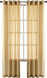GoodGram 2 Pack Ultra Luxurious High Woven Elegant Sheer Grommet Curtain Panels - Assorted Sizes & Colors (Gold, 84 in. Long)