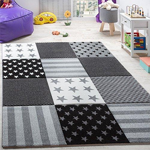 Paco Home Kinderteppich Sterne Muster Kurzflor Konturenschnitt Karo Design Grau Schwarz, Grösse:140x200 cm