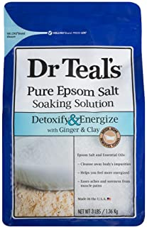 Dr Teals Ginger and Clay Pure Epsom Salt Soaking Solution, 1.36 kg, White, 3 Pound (1 Count) (04342-4PK)