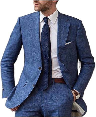 Outwear Azul Verano Playa Lino Hombres Traje 2020 Slim Fit 2 ...