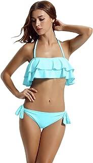 zeraca Women's Ruffle Bandeau Bikini Sets Bathing Suits