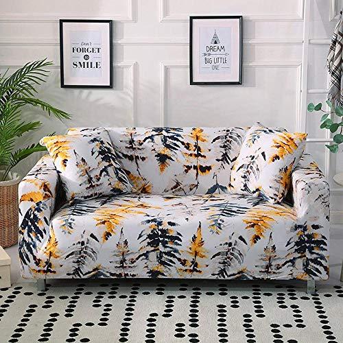 Fundas elásticas para fundas de sofá Funda de sofá elástica con todo incluido para sofá de diferentes formas Silla Loveseat Funda de sofá estilo L-Árboles amarillos_Funda de cojín 2 piezas_CHINA