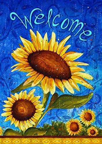 Toland Home Garden Süße Sonnenblumen, Blau/Gelb, 71.12x101.6x0.1 cm