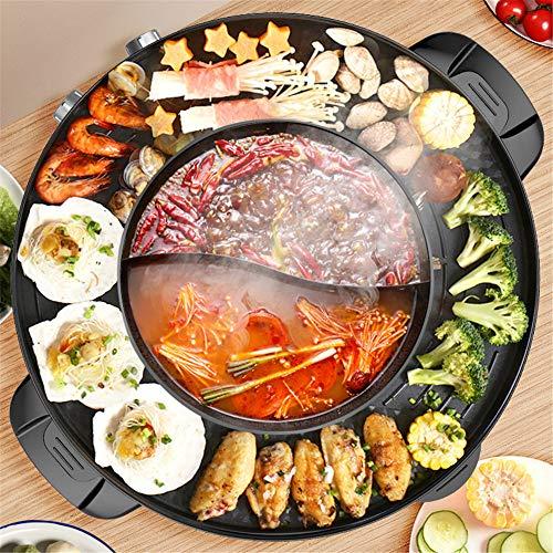 InLoveArts BBQ Grill und Hot Pot 2 in 1 Split Design mit Grillplatte- Doppelte Temperaturregelung - Einfache Reinigung-Multifunktionaler Elektrogrill und Hot Pot für 2-7 Personen