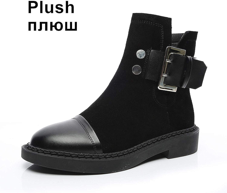 kvinnor stövlar stövlar stövlar Genuine läder Winter Ankle skor Warm Plush Round Toe Platform Martin stövlar  det senaste