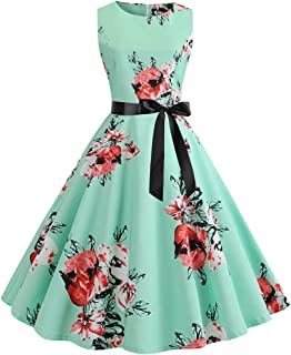 TIFENNY Summer Women Vintage Fashion Dresses 1950s Sleeveless O Neck Retro Print Evening Party Prom Swing Dress