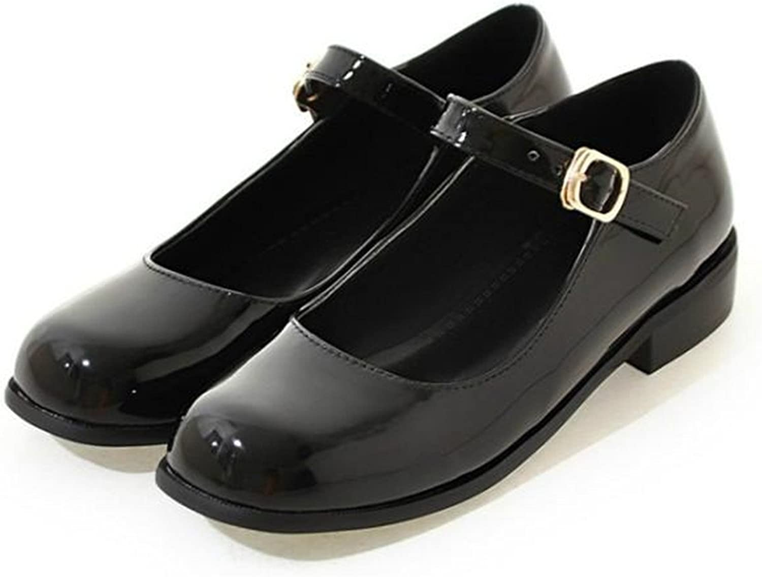 Henraly School Students shoes Patent Leather Mary Janes Casual Solid Buckle Strap Summer Women shoes Flats