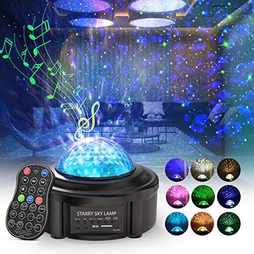 Sternenhimmel Projektor, Skybasic Sternenlicht Projektor, Led Musik Nachtlicht mit Dual Speaker, Projektionslampe Weihnachts/Halloween Dekoration