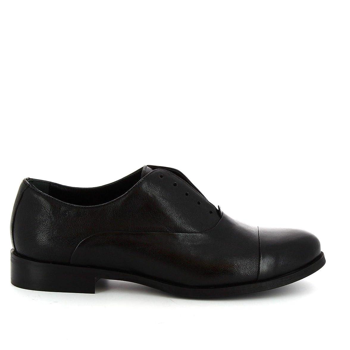 カメラ誇大妄想スパイラル[LEONARDO SHOES] レディース 1914BLACK ブラック 革 係靴ひも