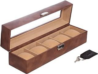 Laveri Top Glass Watch Box, Brown