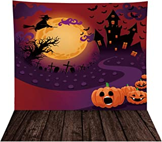 Allenjoy 8X8ft Halloween Pumpkin Castle Backdrop for Photography Soft Fabric Horrible Witch Moonlight Birthday Background ...