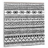 3dFlower Cortina de baño, patrón étnico Africano Motivos Tribales Aztecas a Rayas en Blanco y Negro Doodle Perú Set de Cortinas de baño con Ganchos