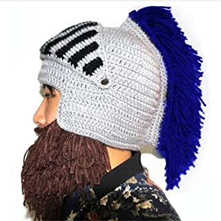 Cosplay Roman Knight Knitted Helmet with Beard Tassel Hat Visor Beanie Mask Winter Ski Sports Warmer Cap