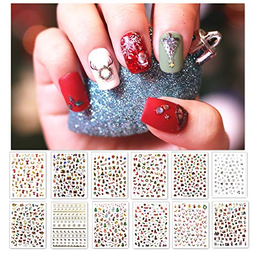 B.M.B.L 1200+ Patterns Christmas Nail Art Stickers Decals , Holographic Original Designs for Christmas Nails , Self-adhesive Nail Decorations for Santa Claus Snowflake Snowman Christmas Bell Tree Stick Elk Antler (12 Sheets Large Size)