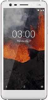"Nokia 3.1 - Android One (Oreo) -16 GB - Dual SIM Unlocked Smartphone (AT&T/T-Mobile/MetroPCS/Cricket/H2O) - 5.2"" Screen - White - U.S. Warranty"