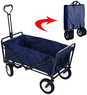 Garden Cart Folding Wagon Foldable Heavy Duty Outdoor Trolley Utility Transport Cart 80kg Max Load, for Outdoor/Festivals/Camping, Blue