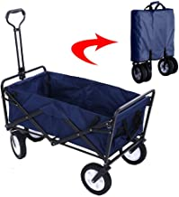 Garden Cart Folding Wagon Foldable Heavy Duty Outdoor Trolley Utility Transport Cart 80kg Max Load, for Outdoor/Festivals/...