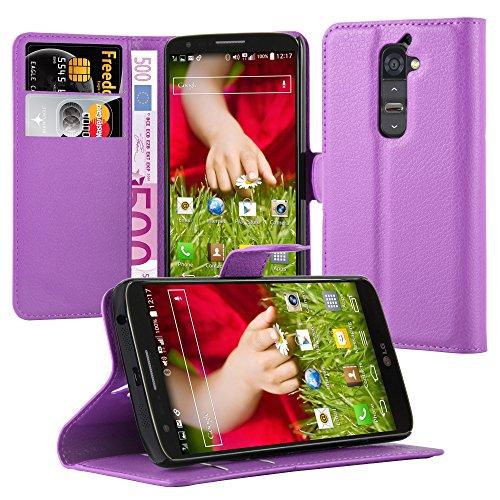 Cadorabo Hülle für LG G2 - Hülle in Mangan VIOLETT – Handyhülle mit Kartenfach & Standfunktion - Hülle Cover Schutzhülle Etui Tasche Book Klapp Style
