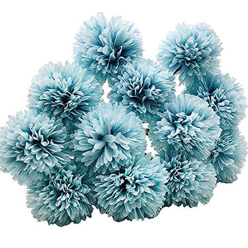 Aisamco 12 Piezas Flores de Bola de crisantemo Artificial con Tallos Arreglo de hortensias de Seda Ramo Flores Artificiales para la Oficina en el hogar Fiestas de café y decoración de Bodas