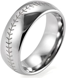 Men's 8mm Domed Tungsten Ring with Engraved Baseball Pattern