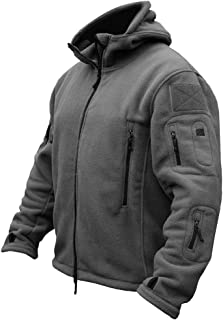 ReFire Gear Men's Warm Military Tactical Fleece Jacket Many Pockets Outdoor Sport Hoodies Coat