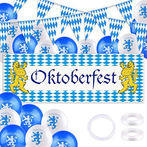 TUPARKA Kit de Decoraciones Oktoberfest Suministros para Fiestas de Octoberfest Banderín bávaro Pancarta con Letrero Globos