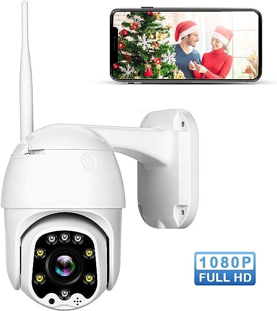 Cámara de Vigilancia Exterior WiFi Camera IP IR Vision Nocturna Impermeable Seguridad Inalámbrica Cámara HD 1080P /Audio Bidireccional/Detección de Movimiento Compatible con iOS Android