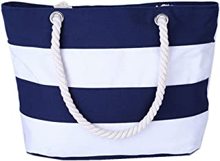 DNFC Strandtasche mit Reißverschluss Damen Schultertasche Groß Canvas Tasche Gestreift Handtasche mit Innentasche Einkaufstasche Shopper Reisetasche für Urlaub, Reisen und Alltagsleben Blau Weiß