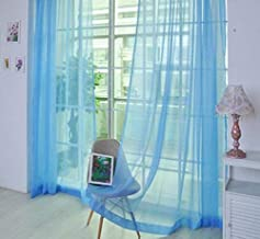YJBear Solid Color European Organdy Sheer Curtain Panels for Bedroom Voile Window Drapes with Rod Pocket for Living Room Window Treatment Set for Wedding/Party Sky Blue 39.3