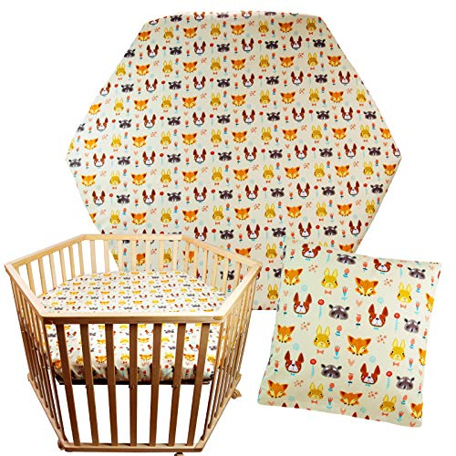 2-Piece Set Fitted Sheet + Cushion Cover Playpen Insert for Hexagonal Playpen Mattress 105 x 120 cm Cotton (Without Mattress and Playpen)
