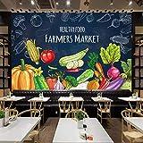 Zybnb 3D PapelTapiz Pintado A Mano Alimentos Saludables Frutas Vegetales Mural Supermercado Tienda De Frutas Restaurante Decoración De La Pared