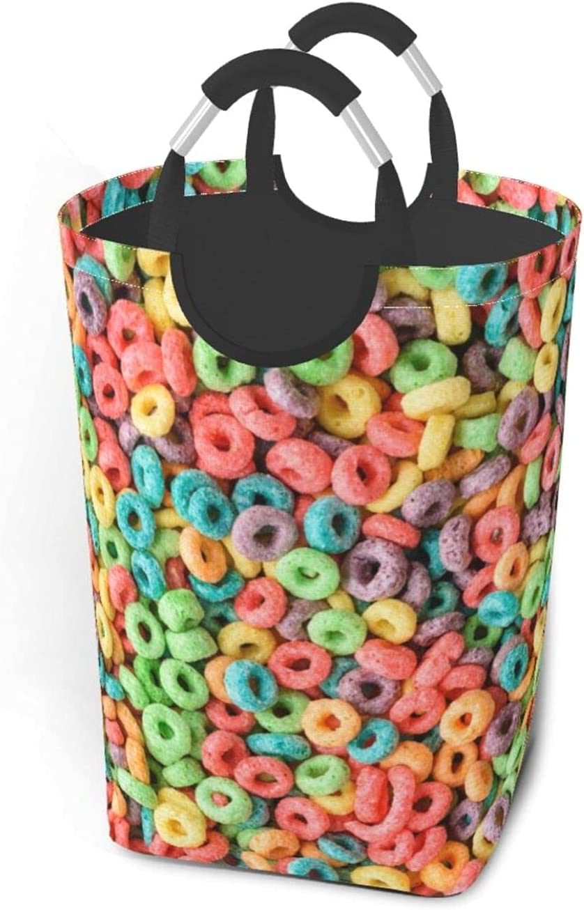 New Orleans Mall Fruit Hoops Cereal Under blast sales Laundry Basket Squar With Bag Handles