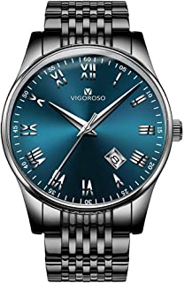 VIGOROSO Mens Watches Date Stainless Steel Roman Numeral Wrist Watch for Men