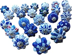 Set of 25 Assorted Ceramic Knobs Hand Painted Vintage Collection Blue and White Pumpkin and Round Knobs Cabinet Drawer Han...