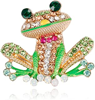Mimgo Pack of 2 Frog Brooch Pins for Women Men, Enamel Rhinestone Colorful