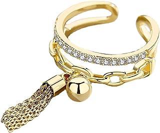 CSIYANJRY99 Layered Chain Tassel Finger Ring,Bohemian Retro Cubic Zirconia Knuckle MIDI Stacking Open Ring for Women Girls