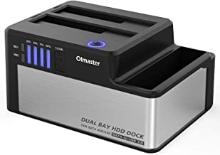 Oimaster Dual Bay Sata Hard Drive Docking Station, USB 3.0 Super Speed for 2.5 and 3.5 Sata HDD SSD, Duplicator Dock UASP Supported