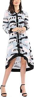 Avtosrno Women's Casual High Low Asymmetrical Irregular Hem Tops Blouse Shirt Dress