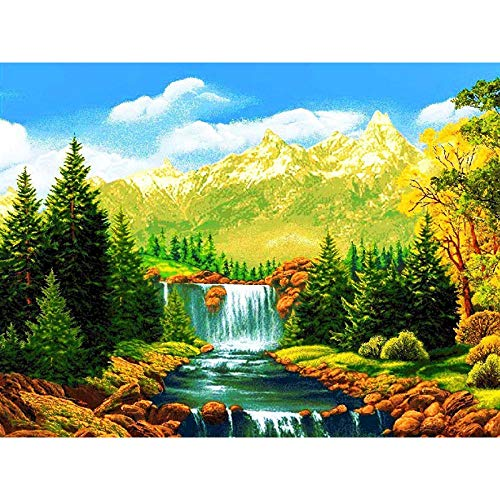 Diopn 5D diamant schilderij waterval lak cross steek afbeeldingen strass landschap boom diamant borduurwerk DIY mozaïek decoratie geschenk (diamant rond 30 x 40) 40 * 50