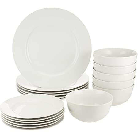 Amazon Basics 18-Piece Kitchen Dinnerware Set, Dishes, Bowls, Service for 6, White