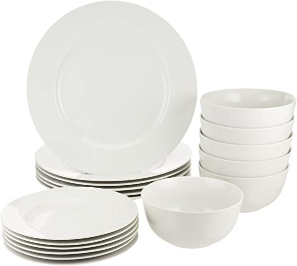 AmazonBasics 18 Piece White Kitchen Dinnerware Set Dishes Bowls Service For 6
