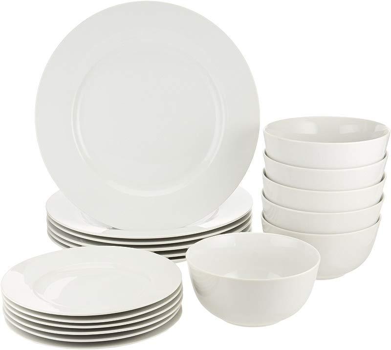 AmazonBasics 18 Piece White Kitchen Dinnerware Set Dishes Bowls Service For 6