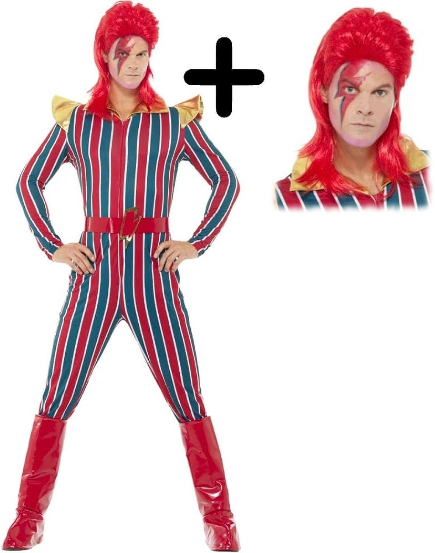 Space Superstar + Wig Fancy Dress 1980s David Bowie Celebrity Adult Costume (Large 42 44  Chest, Mens)
