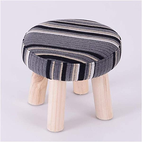 Carl Artbay Wooden Footstool Gray Stripes Home Solid Wood Stool Fashion Change Shoes Stool Home