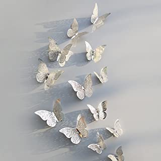 Fragil Tox 3D Animal Sticker 12 Pcs/Set 3D Wall Stickers Butterfly Hollow Paper 3Sizes Silver Gold for Fridge Stickers Home Party Wedding Decor F507 D