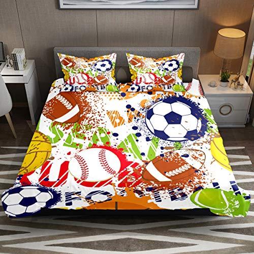 Juego de funda de edredón, juego de cama individual de 3 piezas, juego de sábanas con fundas de almohada, decoración de habitación para niños, niñas, adolescentes y adultos, Poliéster, Multicolor, suelto