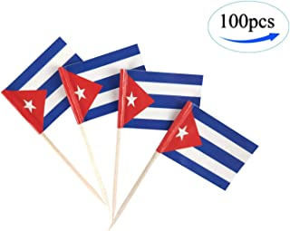 Cuba Flag Cuban Flags,100 Pcs Cupcake Toppers Flag, Country Toothpick Flag,Small Mini Stick flags Picks Party Decoration Celebration Cocktail Food Bar Cake Flags