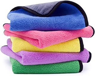 Ultra-Thick Microfiber Cleaning Cloth with 5 Bright Colors, Multipurpose Household Kitchen Towels, Softer Absorbent Cleaning Rags for House Kitchen Car Glass Stainless Steel-Pack of 5