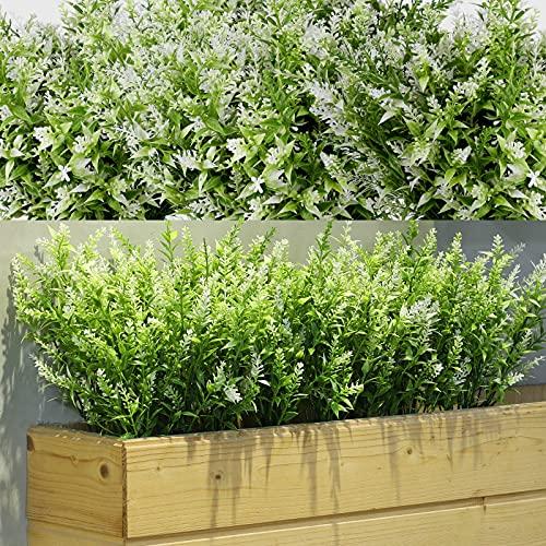 12 Bündel Künstliche Lavendel Büsche Künstliche Blumen für Outdoor Künstliche Grün Lavendel UV Beständige Pflanzen für Blumen Arrangement, Tisch Kernstück, Haus Garten Dekor (Weiß)