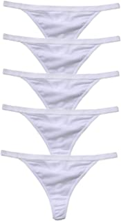 Zofirao 5 Pack Women's Black White Red Panties Cotton Spandex Thongs Underwear G-Strings